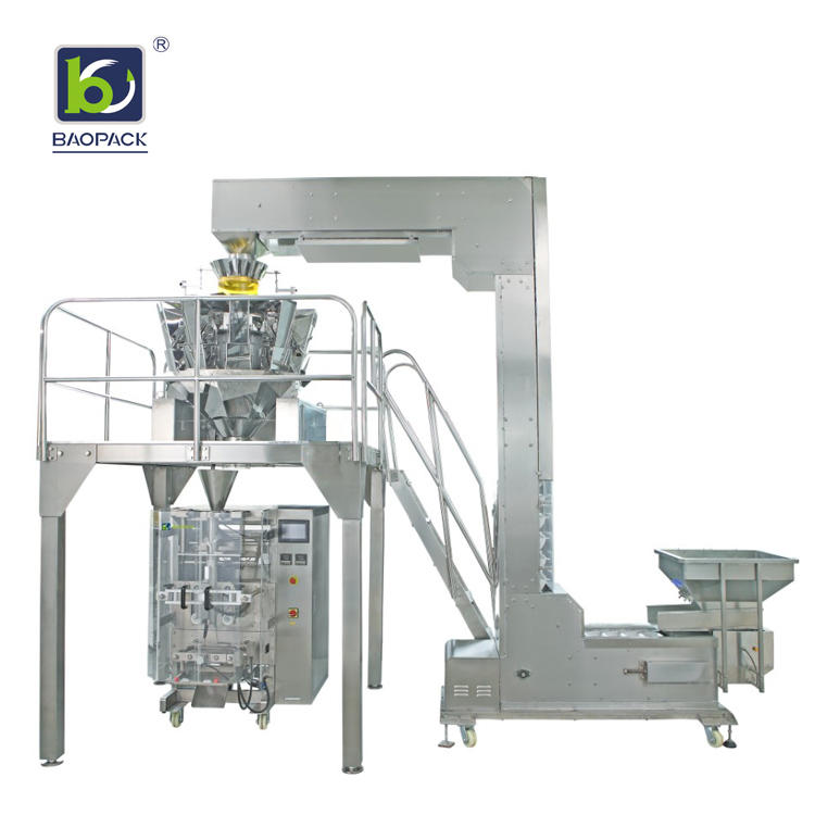 BAOPACK Automatic Nitrogen Flushing Vertical Pouch Form Fill Seal 10-head Weigher Banana Chips Mini Biscuits Puffed food CB-VP42