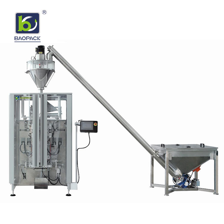 BAOPACK Automatic Auger Filler Screw Conveyor  Quadro 4-side Sealed Icecream Coffee Powder Packing Machine CB-VT52A